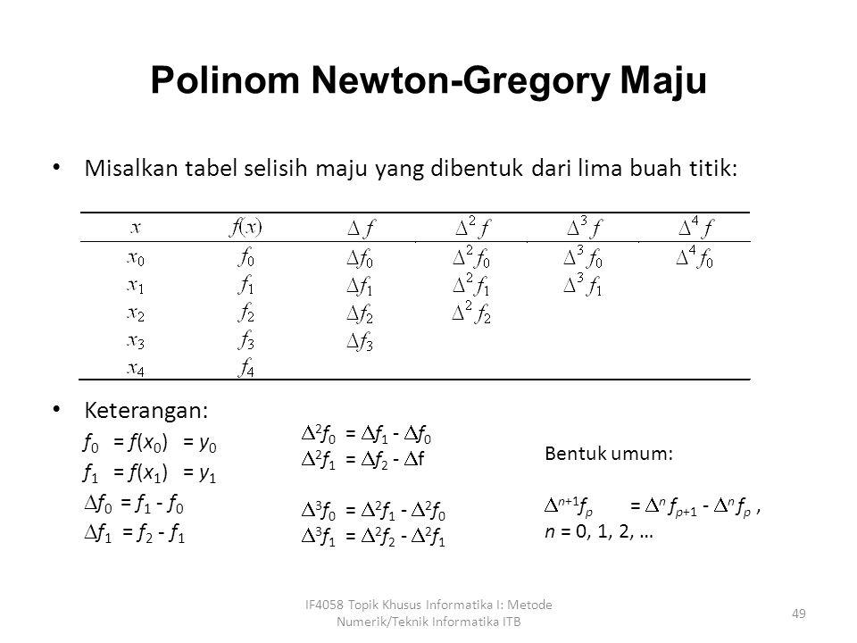 Polinom Newton-Gregory Maju Misalkan tabel selisih maju yang dibentuk dari lima buah titik: Keterangan: f 0 = f(x 0 ) = y 0 f 1 = f(x 1 ) = y 1  f 0 = f 1 - f 0  f 1 = f 2 - f 1 IF4058 Topik Khusus Informatika I: Metode Numerik/Teknik Informatika ITB 49  2 f 0 =  f 1 -  f 0  2 f 1 =  f 2 -  f  3 f 0 =  2 f 1 -  2 f 0  3 f 1 =  2 f 2 -  2 f 1 Bentuk umum:  n+1 f p =  n f p+1 -  n f p, n = 0, 1, 2, …