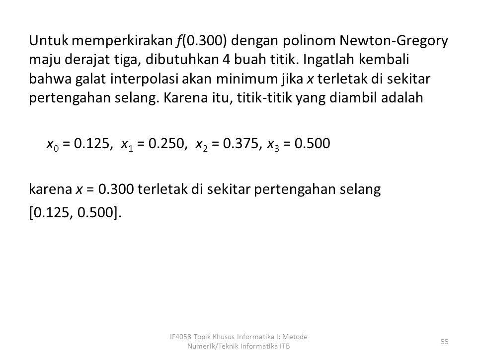 Untuk memperkirakan f(0.300) dengan polinom Newton-Gregory maju derajat tiga, dibutuhkan 4 buah titik.