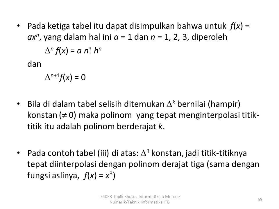 Pada ketiga tabel itu dapat disimpulkan bahwa untuk f(x) = ax n, yang dalam hal ini a = 1 dan n = 1, 2, 3, diperoleh  n f(x) = a n  h n dan  n+1 f(x) = 0 Bila di dalam tabel selisih ditemukan  k bernilai (hampir) konstan (  0) maka polinom yang tepat menginterpolasi titik- titik itu adalah polinom berderajat k.