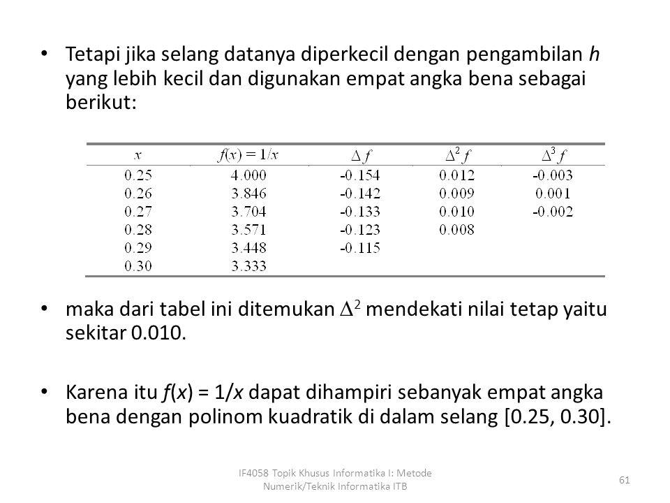 Tetapi jika selang datanya diperkecil dengan pengambilan h yang lebih kecil dan digunakan empat angka bena sebagai berikut: maka dari tabel ini ditemukan  2 mendekati nilai tetap yaitu sekitar 0.010.