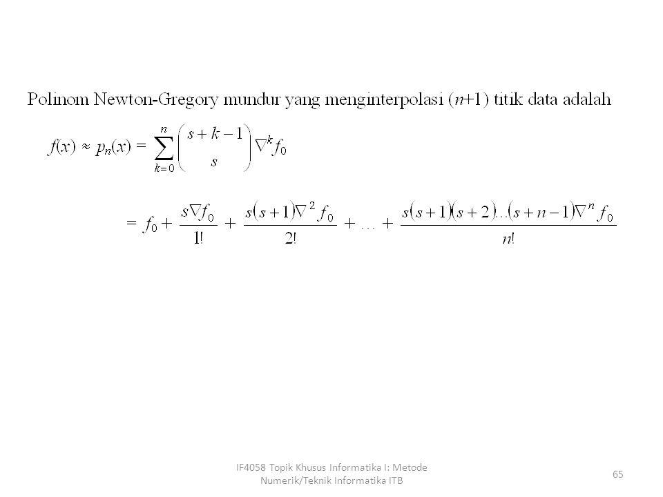 IF4058 Topik Khusus Informatika I: Metode Numerik/Teknik Informatika ITB 65