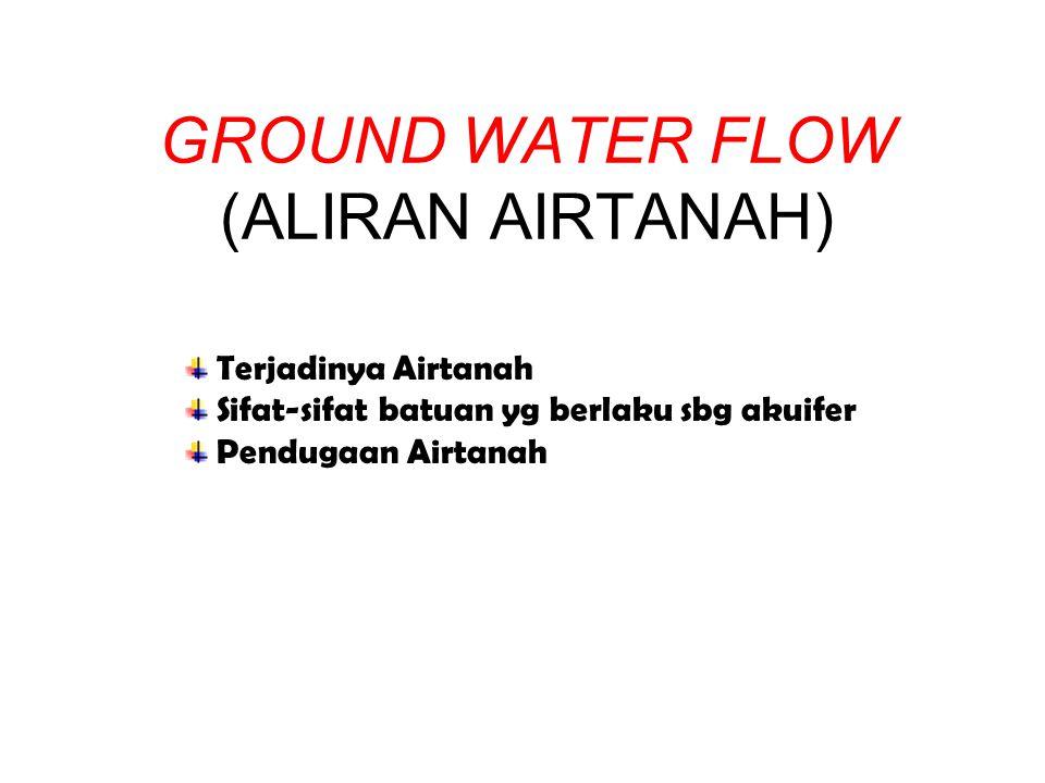 GROUND WATER FLOW (ALIRAN AIRTANAH) Terjadinya Airtanah Sifat-sifat batuan yg berlaku sbg akuifer Pendugaan Airtanah