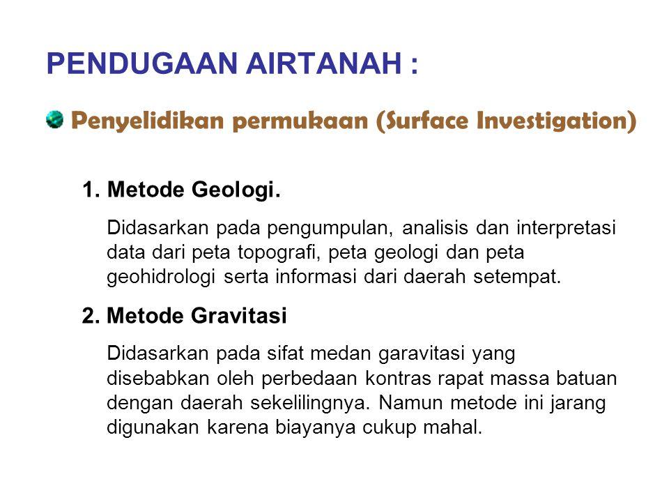 PENDUGAAN AIRTANAH : Penyelidikan permukaan (Surface Investigation) 1.Metode Geologi. Didasarkan pada pengumpulan, analisis dan interpretasi data dari