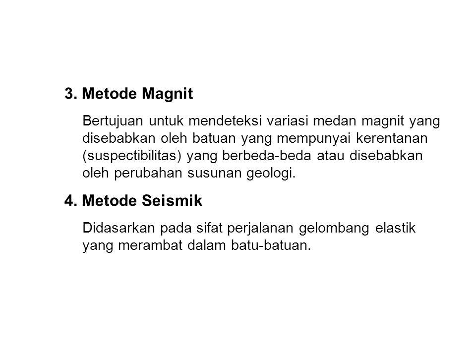 3. Metode Magnit Bertujuan untuk mendeteksi variasi medan magnit yang disebabkan oleh batuan yang mempunyai kerentanan (suspectibilitas) yang berbeda-
