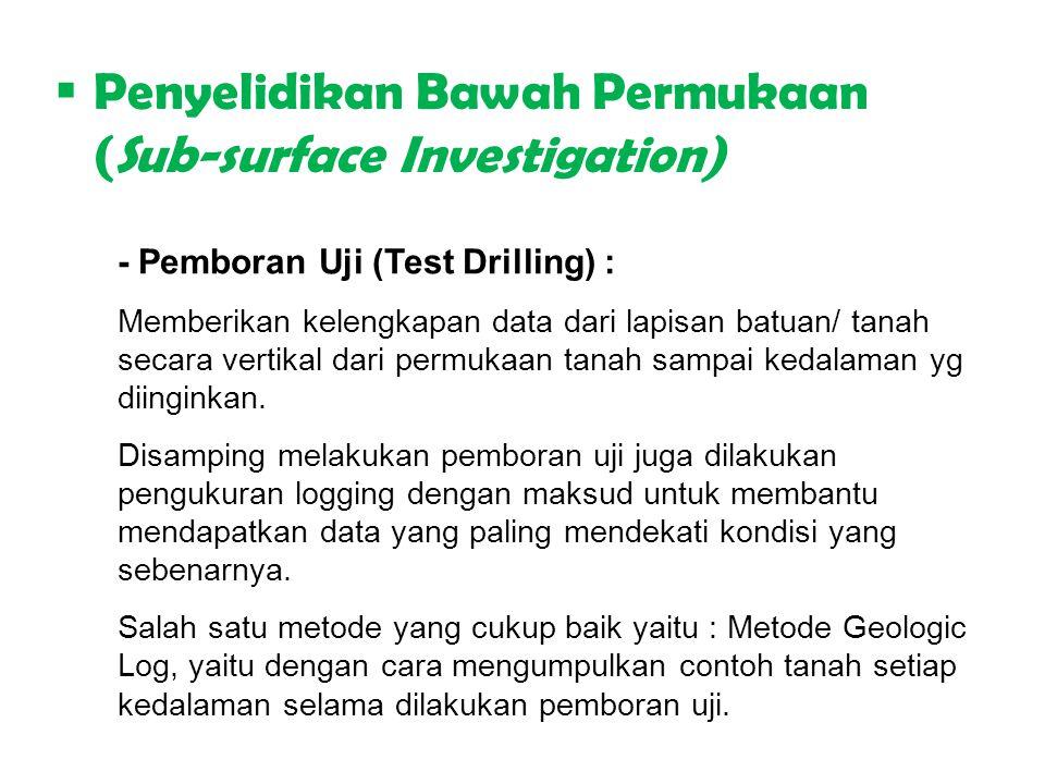  Penyelidikan Bawah Permukaan (Sub-surface Investigation) - Pemboran Uji (Test Drilling) : Memberikan kelengkapan data dari lapisan batuan/ tanah sec