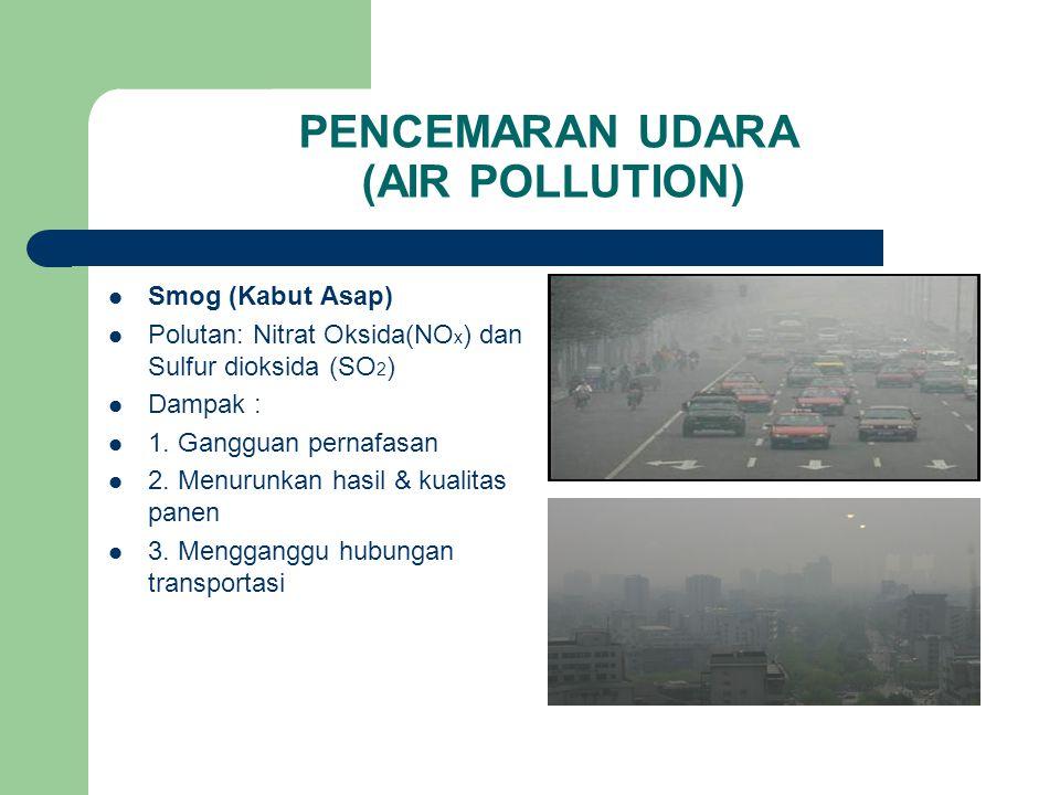PENCEMARAN UDARA (AIR POLLUTION) Penipisan Lapisan Ozon Fungsi Ozon Polutan : Gas Halon dan CFC (Chloro Flouro Carbon) Dampak : 1.