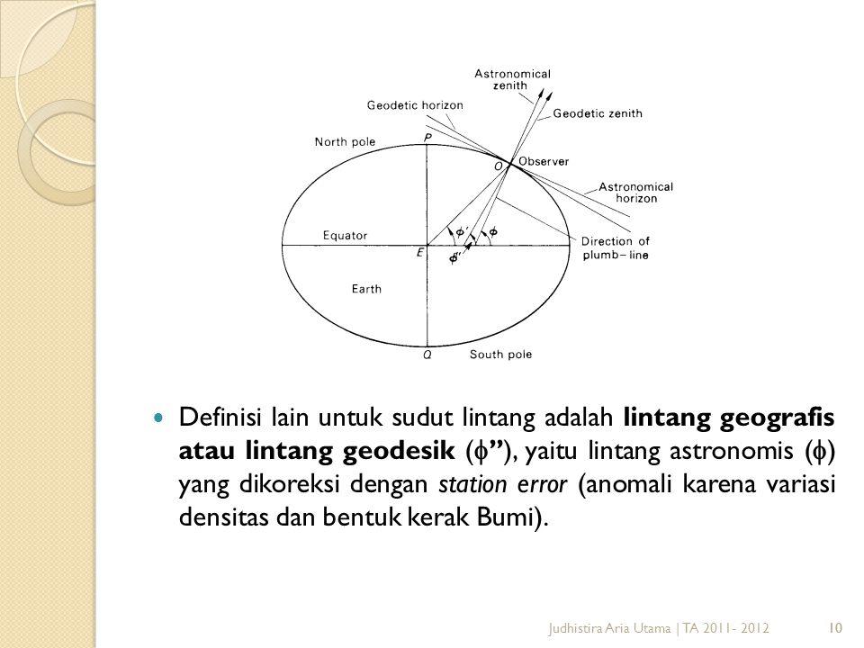 11 Definisi lain untuk sudut lintang adalah lintang geografis atau lintang geodesik (  ''), yaitu lintang astronomis (  ) yang dikoreksi dengan station error (anomali karena variasi densitas dan bentuk kerak Bumi).