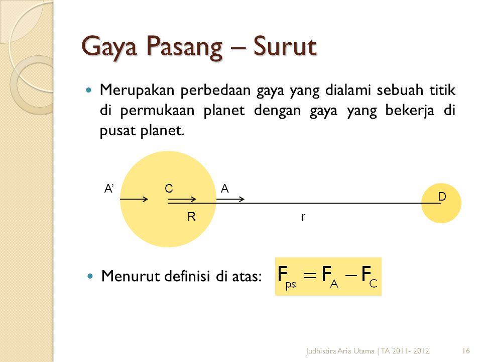 17 Terapkan Hukum Newton di titik A dan C untuk memperoleh: Judhistira Aria Utama | TA 2011- 2012 Persamaan bentuk terakhir yang diperoleh di atas merupakan persamaan untuk menghitung besarnya gaya pasang – surut di daerah ekuator.