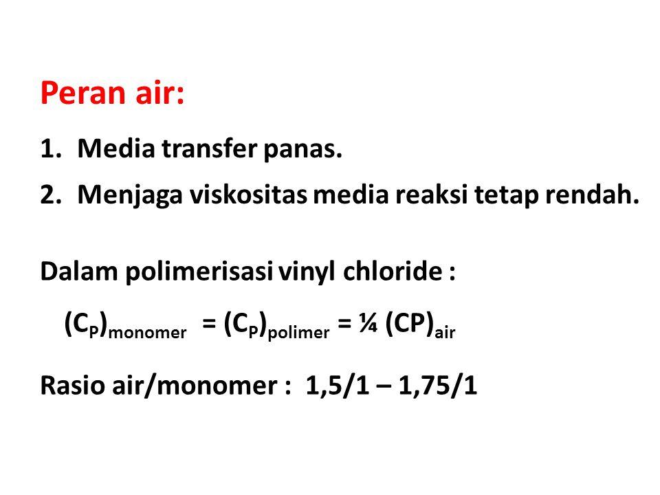Dalam polimerisasi vinyl chloride : (C P ) monomer = (C P ) polimer = ¼ (CP) air Rasio air/monomer : 1,5/1 – 1,75/1 Peran air: 1.Media transfer panas.