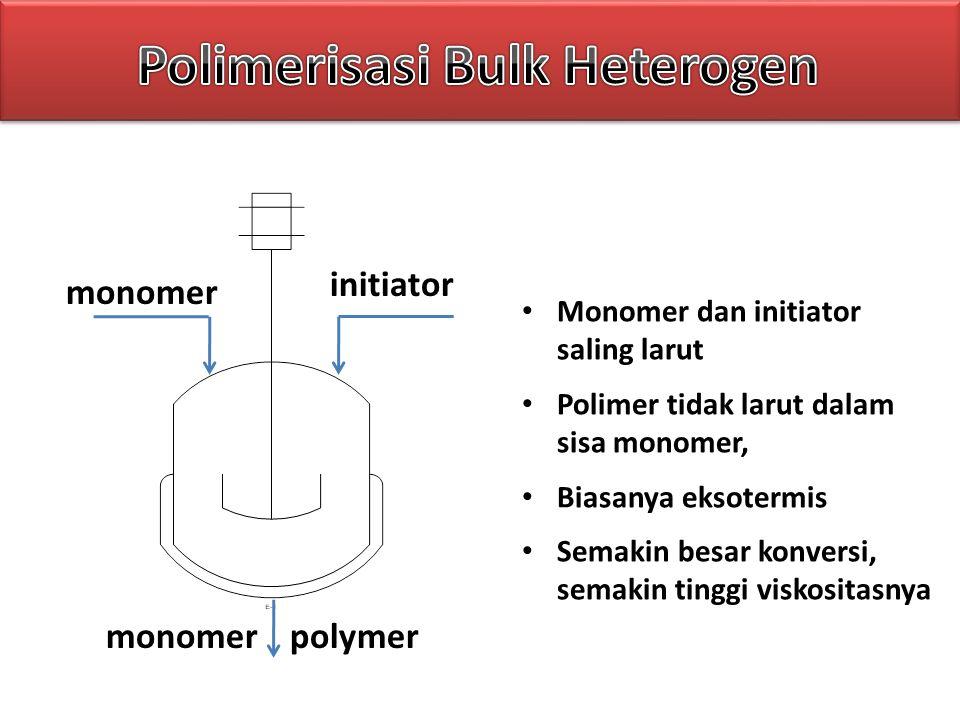 monomer initiator polymer Monomer dan initiator saling larut Polimer tidak larut dalam sisa monomer, Biasanya eksotermis Semakin besar konversi, semak