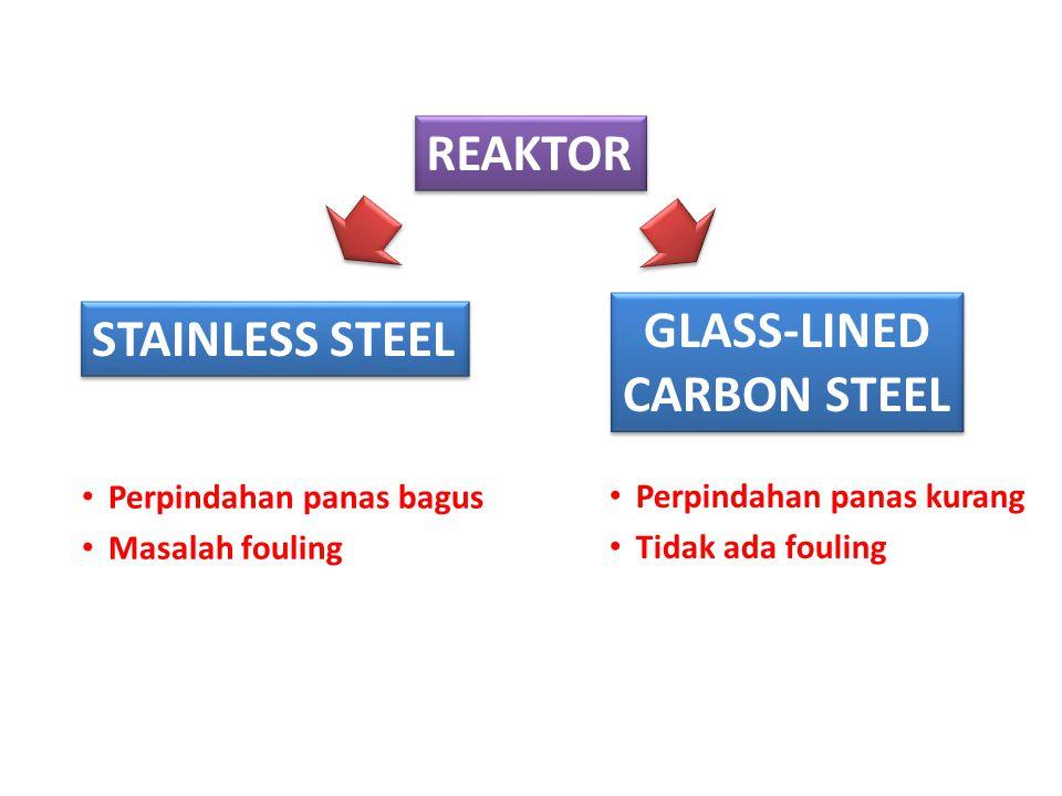 GLASS-LINED CARBON STEEL GLASS-LINED CARBON STEEL STAINLESS STEEL Perpindahan panas bagus Masalah fouling Perpindahan panas kurang Tidak ada fouling