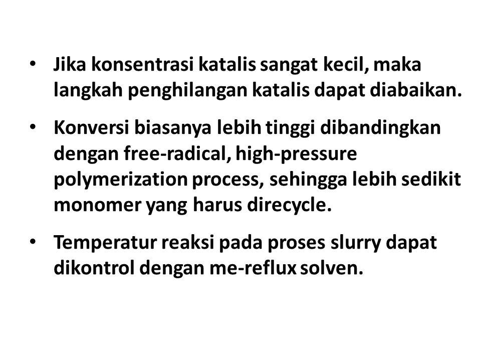Jika konsentrasi katalis sangat kecil, maka langkah penghilangan katalis dapat diabaikan. Konversi biasanya lebih tinggi dibandingkan dengan free-radi