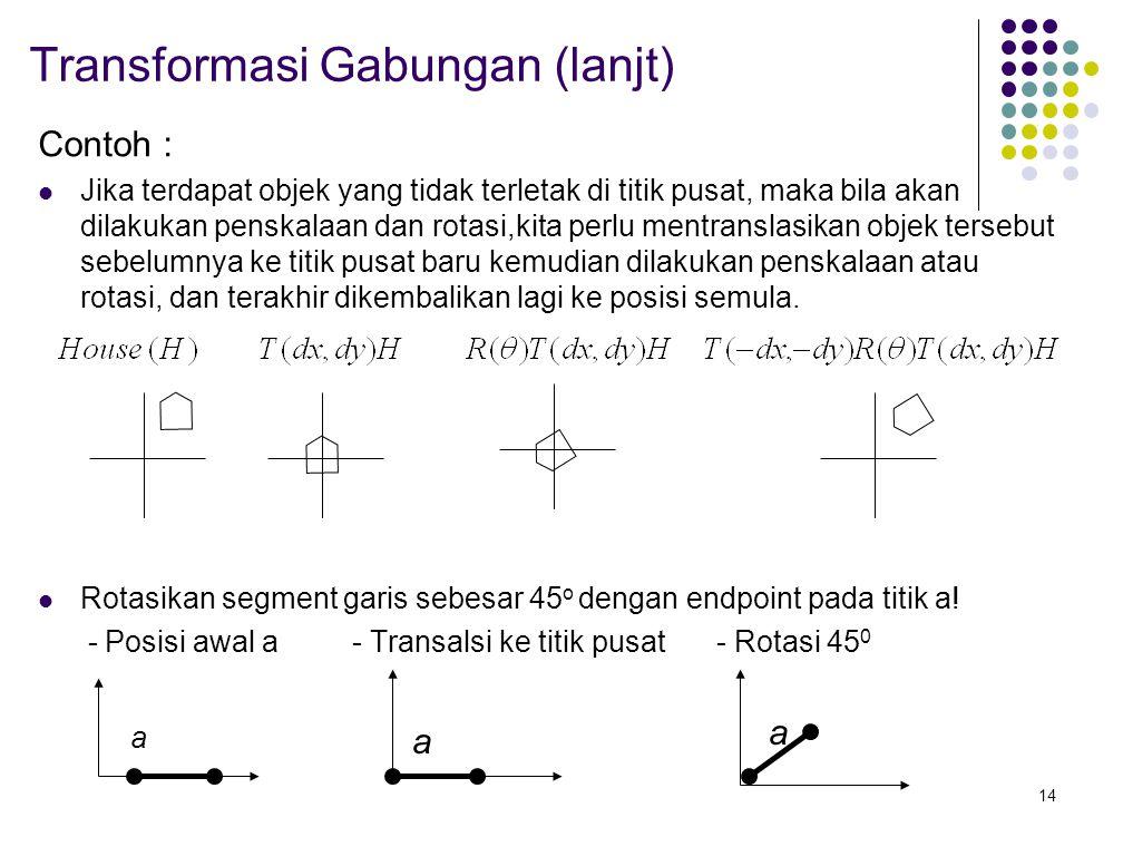 14 Transformasi Gabungan (lanjt) Contoh : Jika terdapat objek yang tidak terletak di titik pusat, maka bila akan dilakukan penskalaan dan rotasi,kita