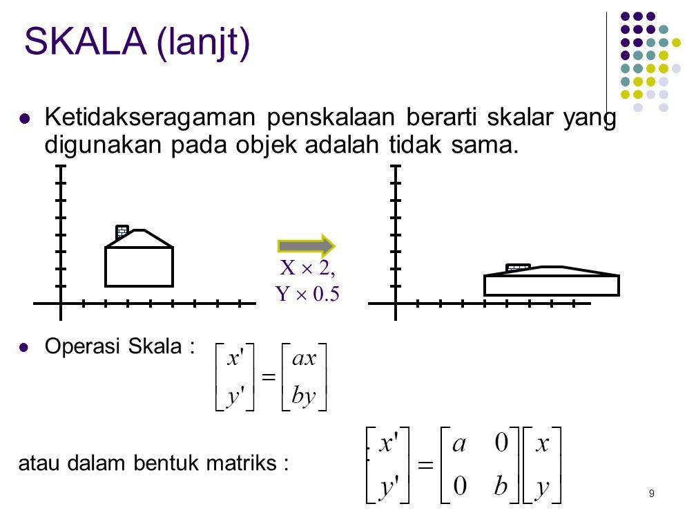 9 SKALA (lanjt) Ketidakseragaman penskalaan berarti skalar yang digunakan pada objek adalah tidak sama. Operasi Skala : atau dalam bentuk matriks : X