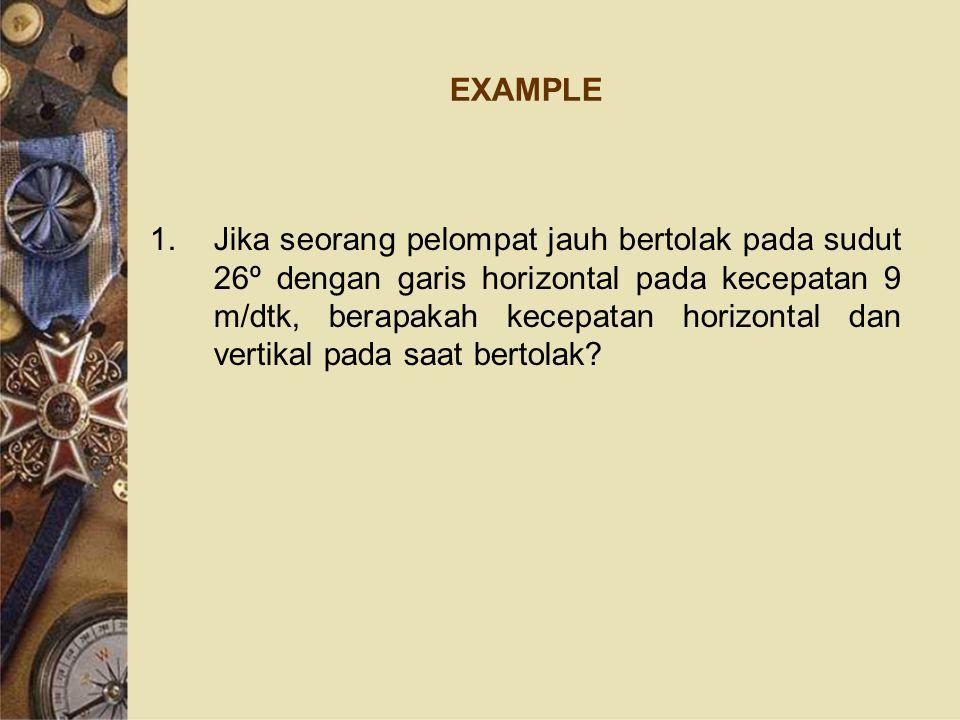 EXAMPLE 1.Jika seorang pelompat jauh bertolak pada sudut 26º dengan garis horizontal pada kecepatan 9 m/dtk, berapakah kecepatan horizontal dan vertikal pada saat bertolak?