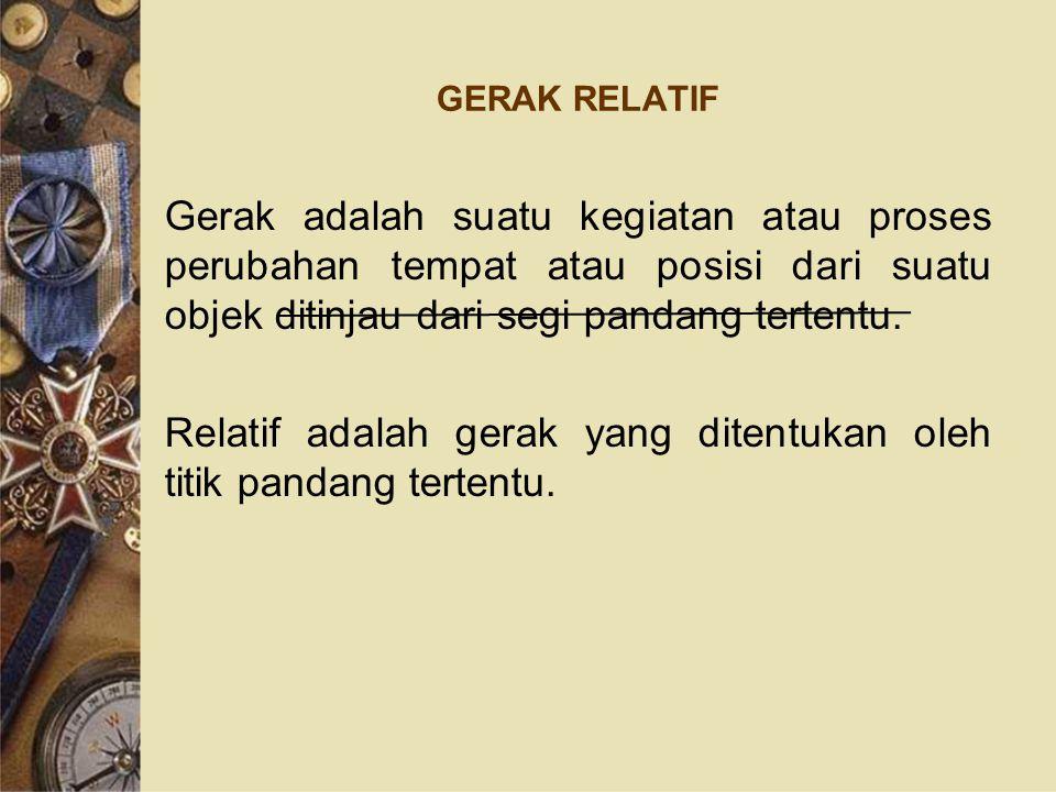 GERAK RELATIF Gerak adalah suatu kegiatan atau proses perubahan tempat atau posisi dari suatu objek ditinjau dari segi pandang tertentu. Relatif adala