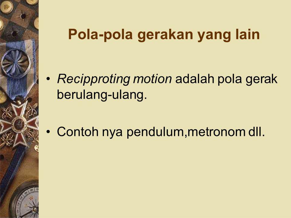 Pola-pola gerakan yang lain Recipproting motion adalah pola gerak berulang-ulang. Contoh nya pendulum,metronom dll.