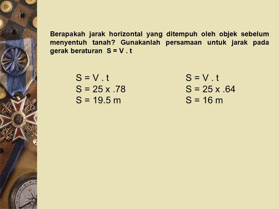 Berapakah jarak horizontal yang ditempuh oleh objek sebelum menyentuh tanah? Gunakanlah persamaan untuk jarak pada gerak beraturan S = V. t S = V. t S