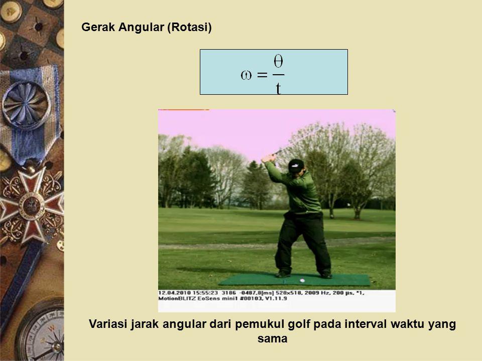 Gerak Angular (Rotasi) Variasi jarak angular dari pemukul golf pada interval waktu yang sama