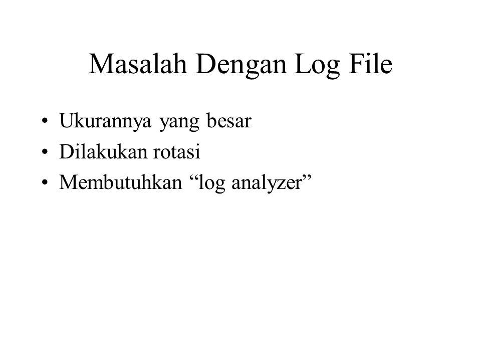 Masalah Dengan Log File Ukurannya yang besar Dilakukan rotasi Membutuhkan log analyzer