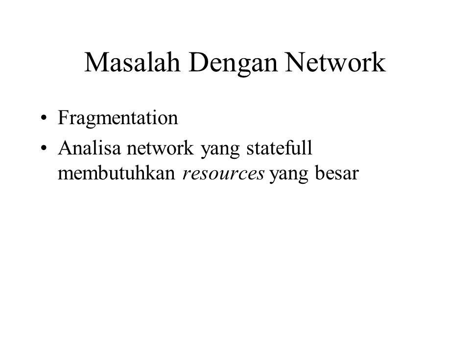 Masalah Dengan Network Fragmentation Analisa network yang statefull membutuhkan resources yang besar