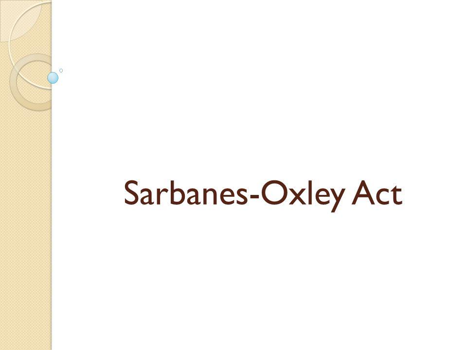 Seksi 101 SOX Seksi 101 SOX mengatur tentang pembentukan dan administrative provisions dari Public Company Accounting Oversight Board (PCAOB).