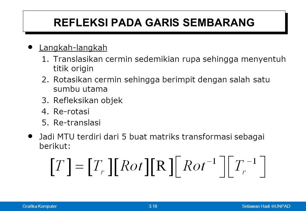 Setiawan Hadi  UNPAD 3.18Grafika Komputer REFLEKSI PADA GARIS SEMBARANG Langkah-langkah 1.Translasikan cermin sedemikian rupa sehingga menyentuh titik origin 2.Rotasikan cermin sehingga berimpit dengan salah satu sumbu utama 3.Refleksikan objek 4.Re-rotasi 5.Re-translasi Jadi MTU terdiri dari 5 buat matriks transformasi sebagai berikut: