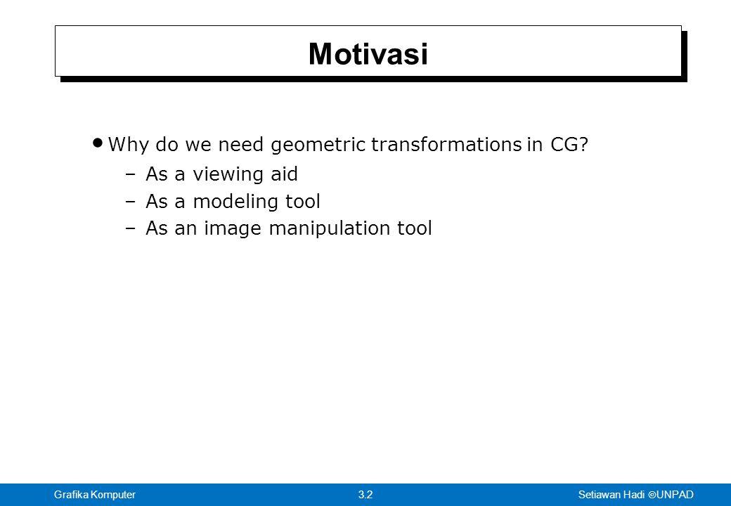 Setiawan Hadi  UNPAD 3.2Grafika Komputer Why do we need geometric transformations in CG? –As a viewing aid –As a modeling tool –As an image manipulat