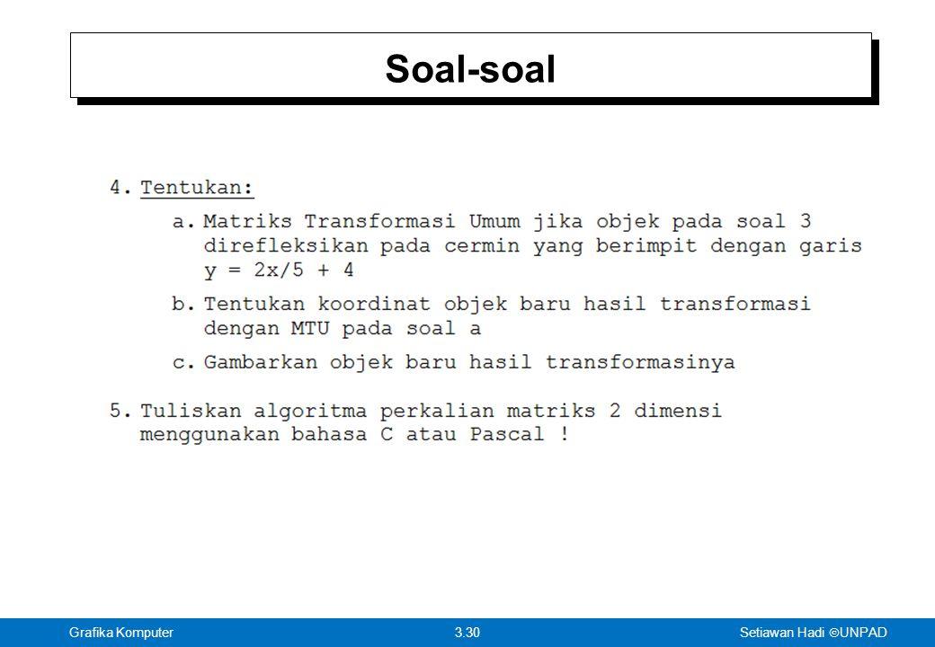 Setiawan Hadi  UNPAD 3.30Grafika Komputer Soal-soal