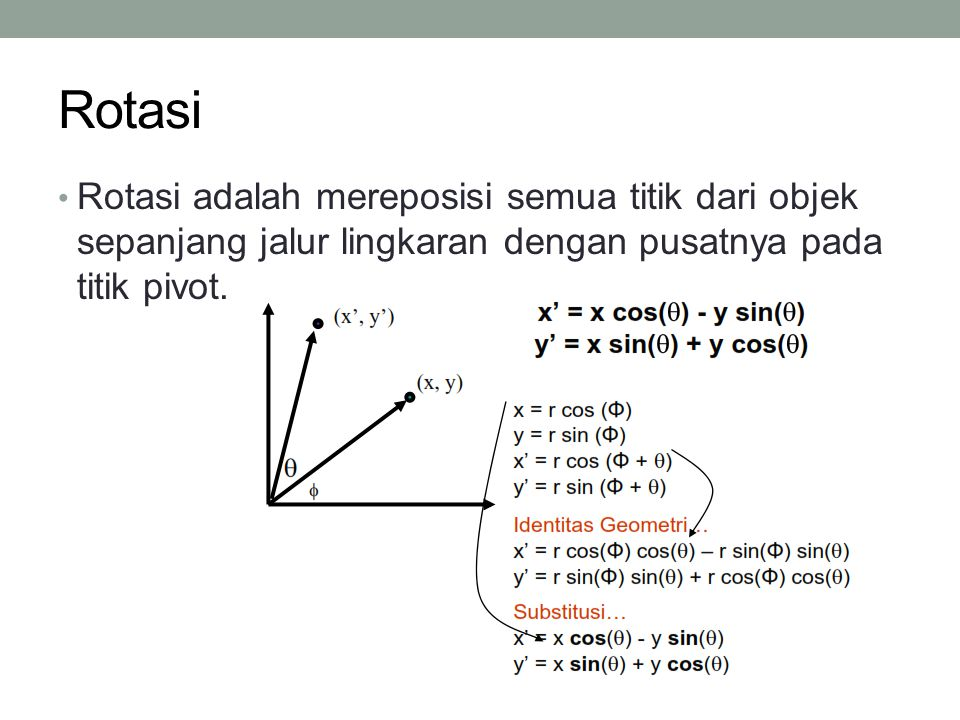 Rotasi Rotasi adalah mereposisi semua titik dari objek sepanjang jalur lingkaran dengan pusatnya pada titik pivot.