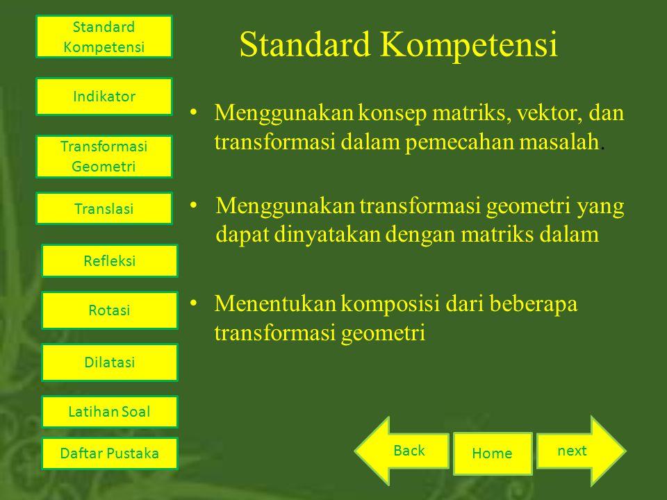 Standard Kompetensi Menggunakan konsep matriks, vektor, dan transformasi dalam pemecahan masalah. Menggunakan transformasi geometri yang dapat dinyata
