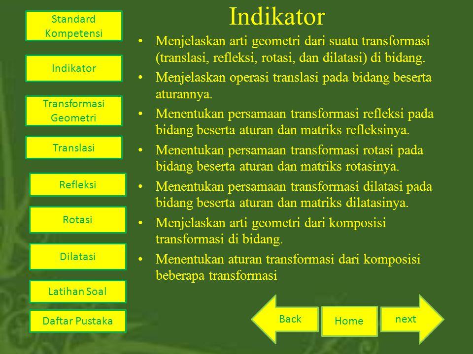 Indikator Menjelaskan arti geometri dari suatu transformasi (translasi, refleksi, rotasi, dan dilatasi) di bidang.
