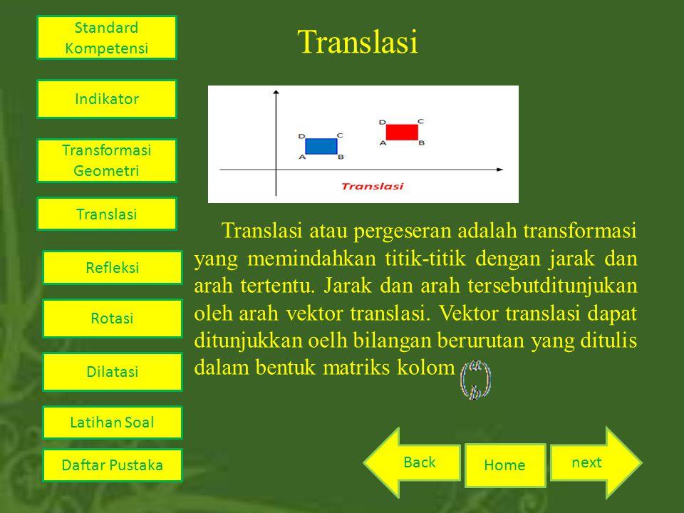 Translasi Translasi atau pergeseran adalah transformasi yang memindahkan titik-titik dengan jarak dan arah tertentu. Jarak dan arah tersebutditunjukan