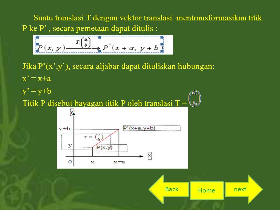 Suatu translasi T dengan vektor translasi mentransformasikan titik P ke P', secara pemetaan dapat ditulis : Jika P'(x',y'), secara aljabar dapat dituliskan hubungan: x' = x+a y' = y+b Titik P disebut bayagan titik P oleh translasi T = Home nextBack