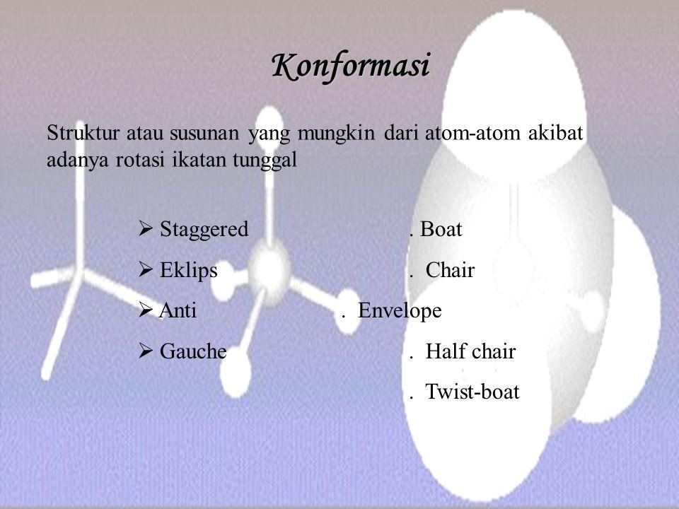 Konformasi  Staggered. Boat  Eklips. Chair  Anti. Envelope  Gauche. Half chair. Twist-boat Struktur atau susunan yang mungkin dari atom-atom akiba