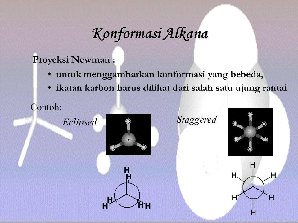 Konformasi Alkana Proyeksi Newman : untuk menggambarkan konformasi yang bebeda, ikatan karbon harus dilihat dari salah satu ujung rantai Contoh: Eclip