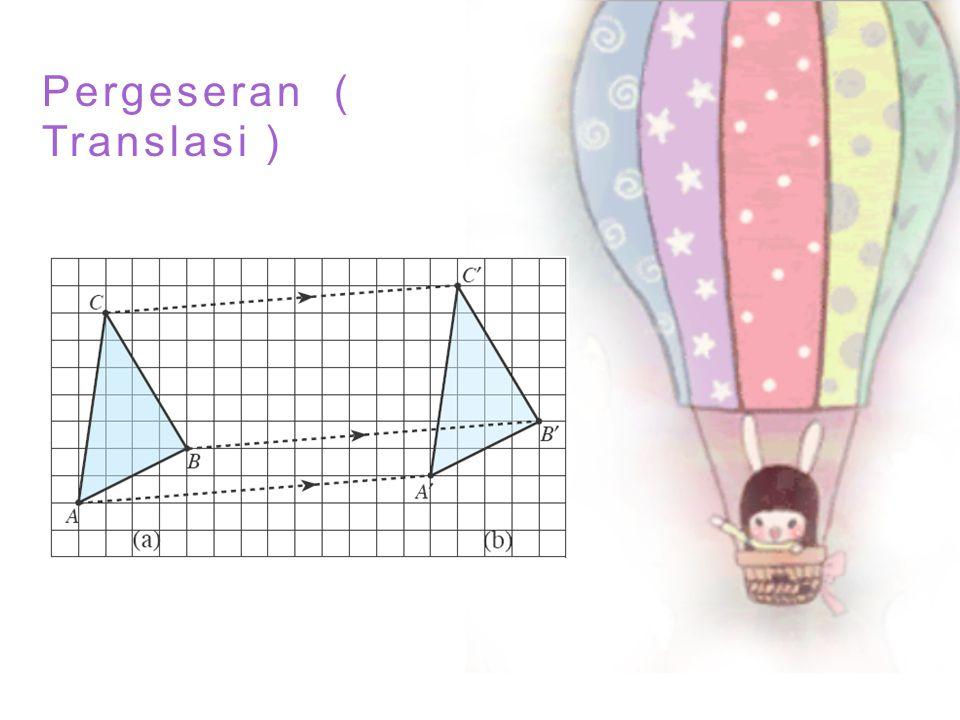 Translasi dapat ditunjukkan oleh ilustrasi di atas Segitiga kiri merupakan objek asli, sedangkan segitiga kanan merupakan bayangan hasil translasi