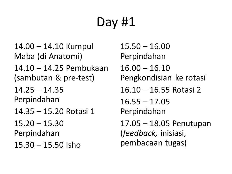 Day #1 14.00 – 14.10 Kumpul Maba (di Anatomi) 14.10 – 14.25 Pembukaan (sambutan & pre-test) 14.25 – 14.35 Perpindahan 14.35 – 15.20 Rotasi 1 15.20 – 15.30 Perpindahan 15.30 – 15.50 Isho 15.50 – 16.00 Perpindahan 16.00 – 16.10 Pengkondisian ke rotasi 16.10 – 16.55 Rotasi 2 16.55 – 17.05 Perpindahan 17.05 – 18.05 Penutupan (feedback, inisiasi, pembacaan tugas)