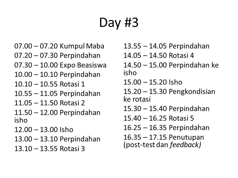 Day #3 07.00 – 07.20 Kumpul Maba 07.20 – 07.30 Perpindahan 07.30 – 10.00 Expo Beasiswa 10.00 – 10.10 Perpindahan 10.10 – 10.55 Rotasi 1 10.55 – 11.05 Perpindahan 11.05 – 11.50 Rotasi 2 11.50 – 12.00 Perpindahan isho 12.00 – 13.00 Isho 13.00 – 13.10 Perpindahan 13.10 – 13.55 Rotasi 3 13.55 – 14.05 Perpindahan 14.05 – 14.50 Rotasi 4 14.50 – 15.00 Perpindahan ke isho 15.00 – 15.20 Isho 15.20 – 15.30 Pengkondisian ke rotasi 15.30 – 15.40 Perpindahan 15.40 – 16.25 Rotasi 5 16.25 – 16.35 Perpindahan 16.35 – 17.15 Penutupan (post-test dan feedback)