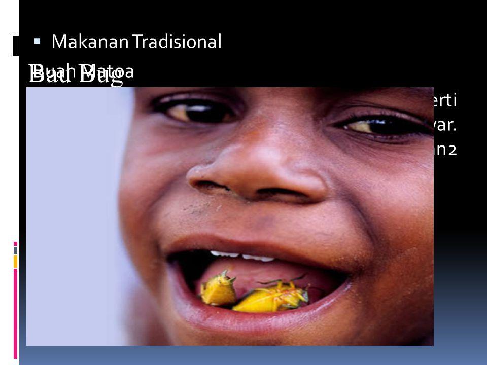  Makanan Tradisional Buah Matoa Buah berkulit keras dengan isi yang manis seperti kelengkeng dan wangi seperti bunga mawar.