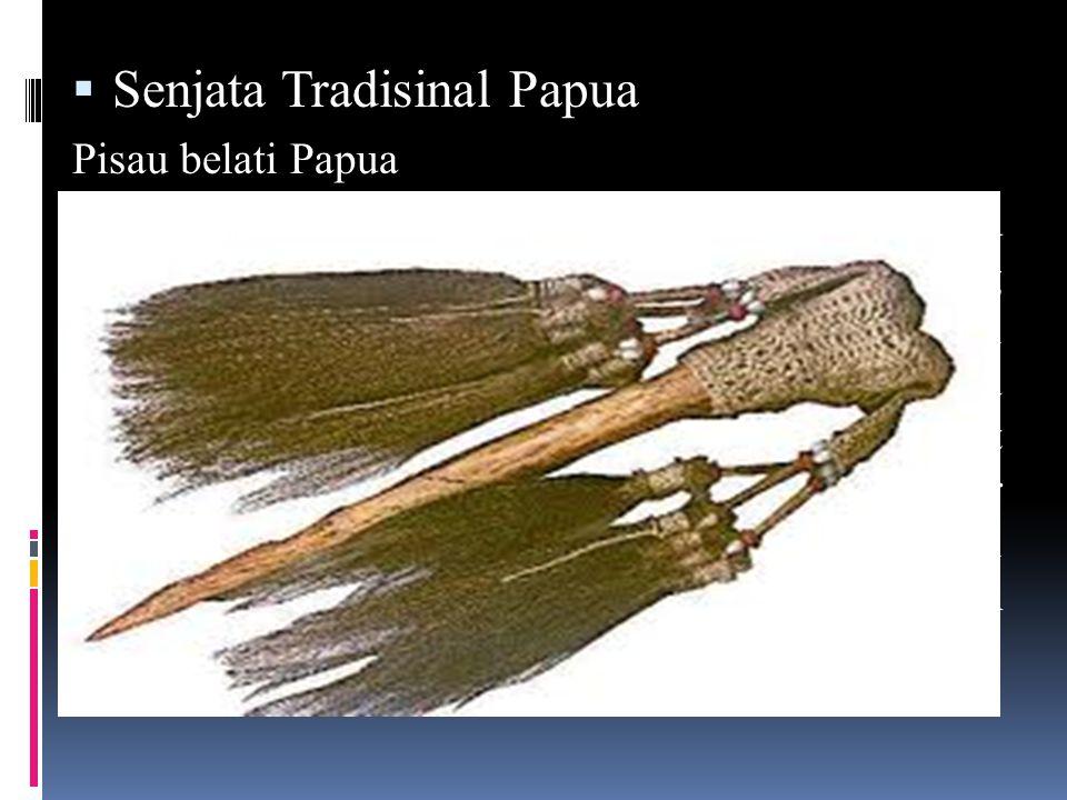  Senjata Tradisinal Papua Pisau belati Papua Salah satu senjata tradisional di Papua adalah Pisau Belati.