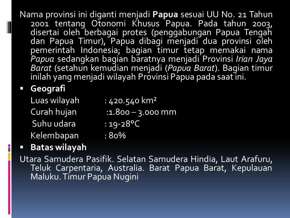 Nama provinsi ini diganti menjadi Papua sesuai UU No.