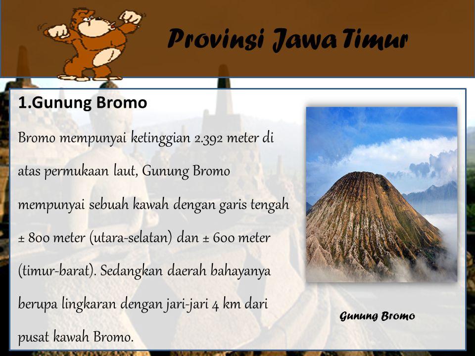 Provinsi Jawa Timur 1.Gunung Bromo Bromo mempunyai ketinggian 2.392 meter di atas permukaan laut, Gunung Bromo mempunyai sebuah kawah dengan garis tengah ± 800 meter (utara-selatan) dan ± 600 meter (timur-barat).