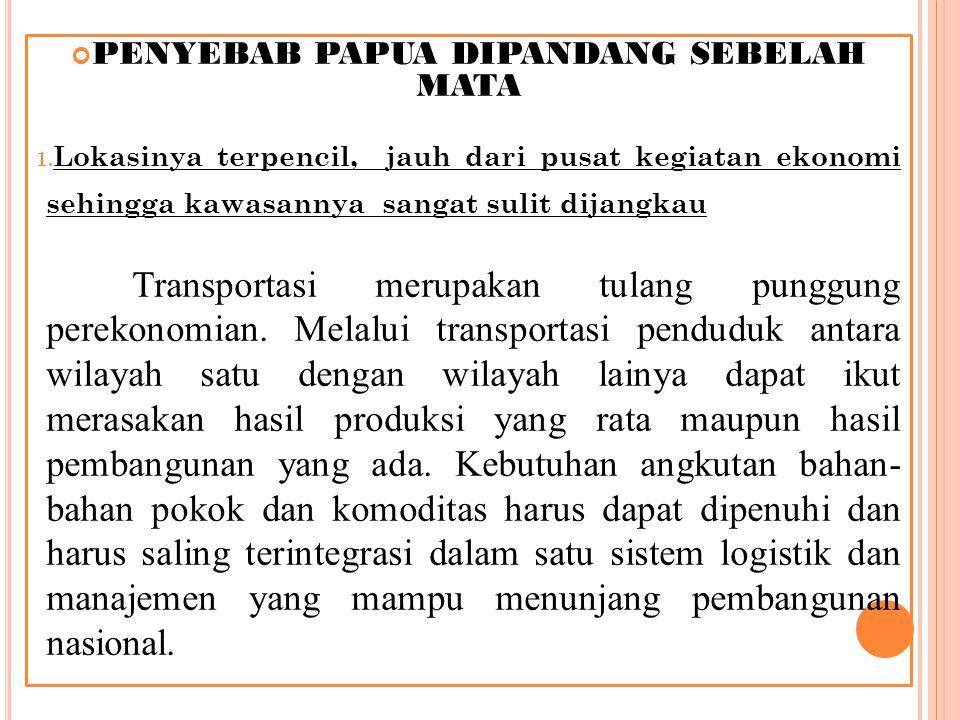 PENYEBAB PAPUA DIPANDANG SEBELAH MATA 1.