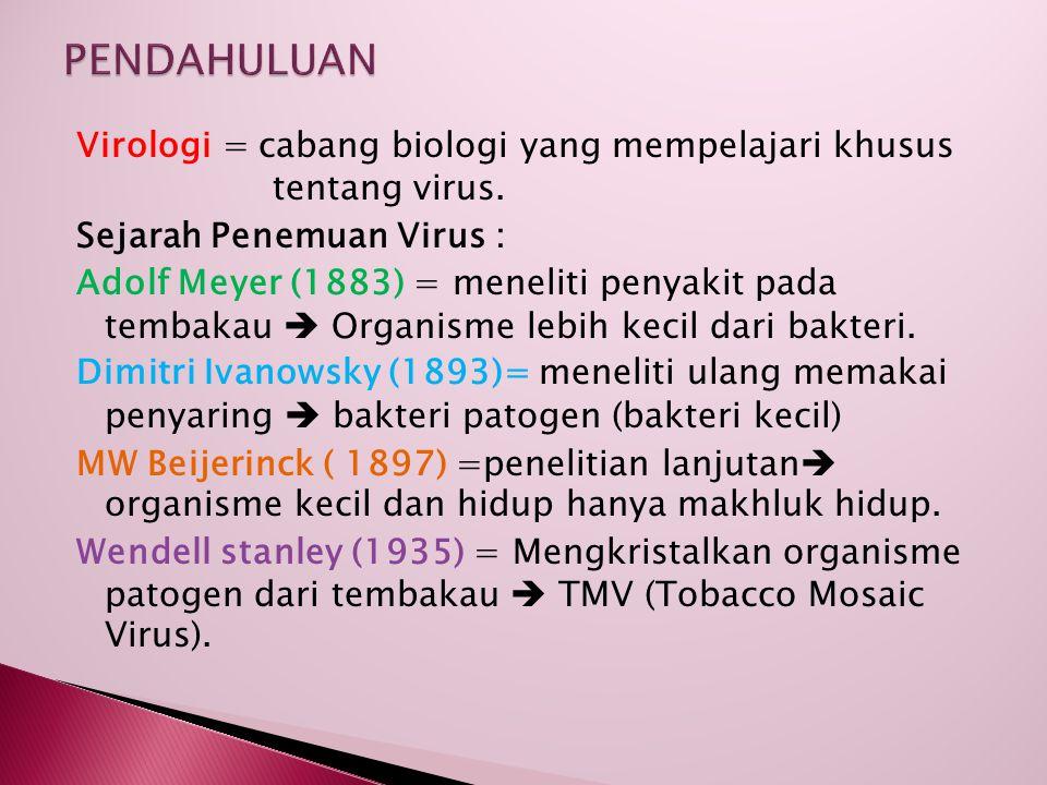 Virologi = cabang biologi yang mempelajari khusus tentang virus. Sejarah Penemuan Virus : Adolf Meyer (1883) = meneliti penyakit pada tembakau  Organ