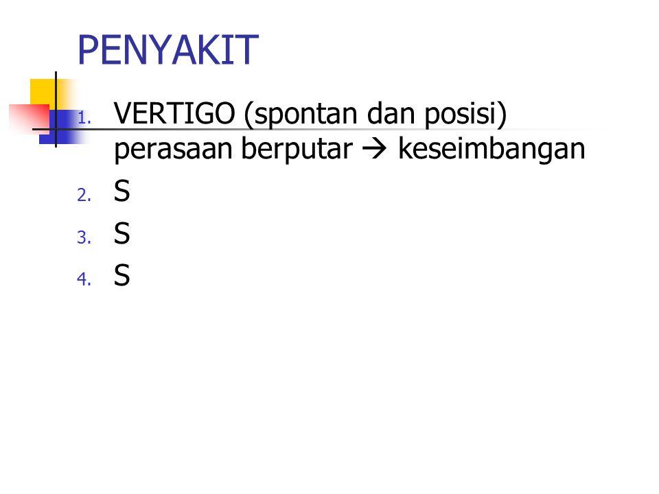 PENYAKIT 1. VERTIGO (spontan dan posisi) perasaan berputar  keseimbangan 2. S 3. S 4. S