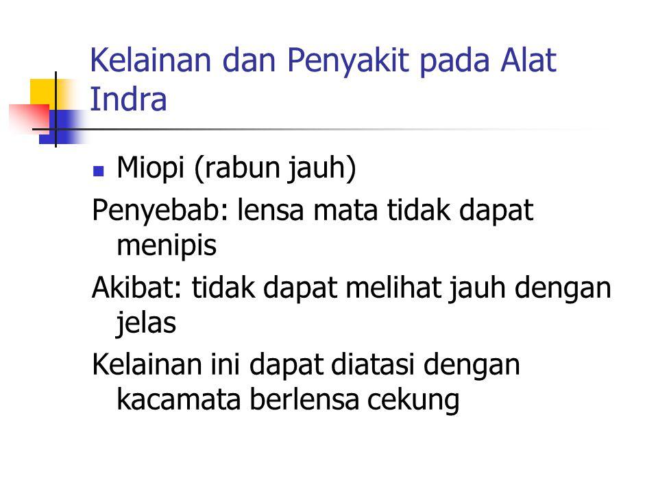 Kelainan dan Penyakit pada Alat Indra Miopi (rabun jauh) Penyebab: lensa mata tidak dapat menipis Akibat: tidak dapat melihat jauh dengan jelas Kelain