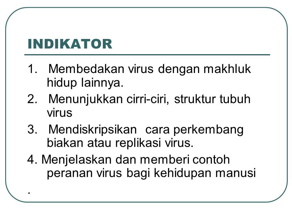 INDIKATOR 1. Membedakan virus dengan makhluk hidup lainnya. 2. Menunjukkan cirri-ciri, struktur tubuh virus 3. Mendiskripsikan cara perkembang biakan