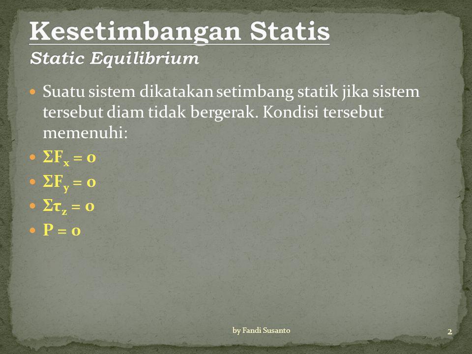 Suatu sistem dikatakan setimbang statik jika sistem tersebut diam tidak bergerak.