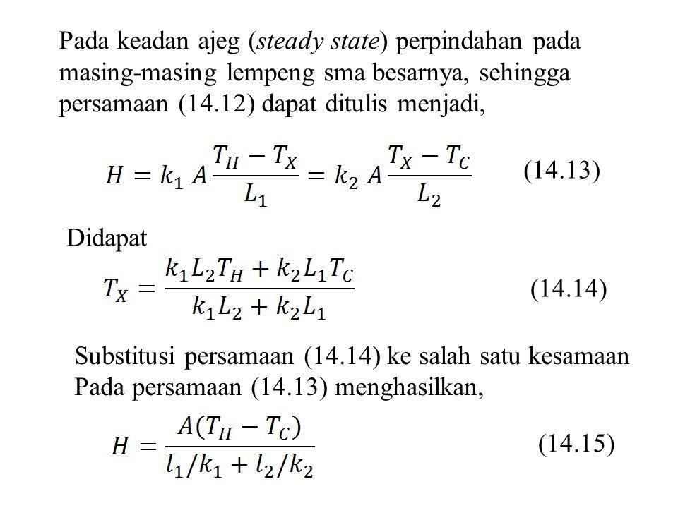 Pada keadan ajeg (steady state) perpindahan pada masing-masing lempeng sma besarnya, sehingga persamaan (14.12) dapat ditulis menjadi, (14.13) Didapat